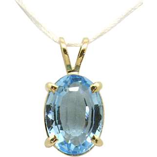 """Bright Large Oval Shaped Swiss Blue Topaz (est 9.84ct) in Wirebasket Mounting """"New"""", yet Vintage!"""