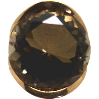 HUGE 26+ carat Smoke Quartz in 14K Rose Gold Retro Style Ring