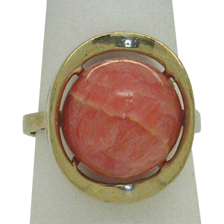"""OUT of this WORLD!"" Vintage 333 (8Kt) Rhodochrosite (c.1950-60's) Ladies Ring"