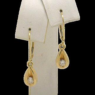 "14KYG 1/3ct TW Teardrop Shaped Diamond Dangle Leverwire Earrings ""Classics!"" (c 80-90's)"