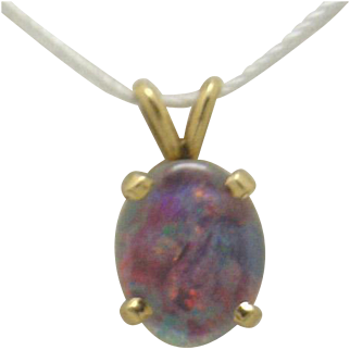 SUPER Fiery!! 14KYG Opal (Doublet) 14KYG Pendant (Take a look at other images)