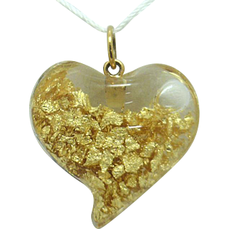 RARE Find! Glass Heart Pendant Filled with 24K Gold Leaf/Foil and 14KYG Bale