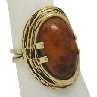 Spectacular Estate/Vintage 14KYG Handmade (European) Amber Ring