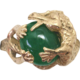 """AWESOME! Intricately Handcarved 14KYG """"Dragon"""" Ring with Jadeite Jade Center"""