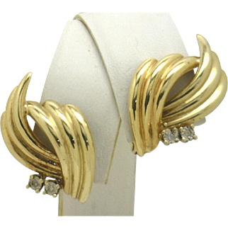 """14KYG Stylized """"Scallop"""" Earrings With Diamond Accents Big Look, Little $$!"""