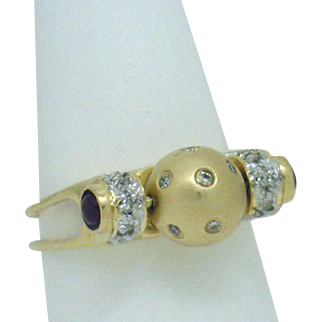 """UNIQUE! 18KYG RIng with Diamond Studded """"Rolling Ball"""" & Ruby Cabochons 1/4ctTW"""