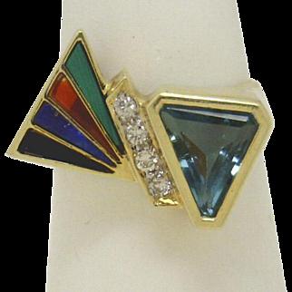 "IMPRESSIVE! 14KYG ""Triangular"" Blue Topaz with Gemstone Slices & Diamonds Ring c 1980's"