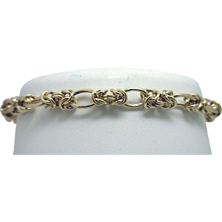 14KYG Fancy Modified Byzantine Link Bracelet with (STRONG!) Magnetic Clasp