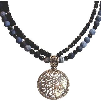 FABULOUS!  Necklace with Onyx, Crystal, Misc grey beads & Sterling Medalliion