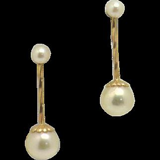 "Versatile 14KYG Akoya 3.5mm Pearl Studs & 6.5mm Dangle ""Jackets"" Set"