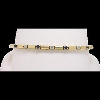 "Beautiful ""Stick & Stones"" Style 14KYG Diamond & Sapphire Bracelet"