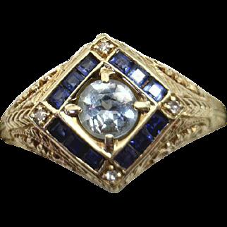 14KYG Filigree 1980's Deco/Art Nouveau Reproduction Ring with Aquamarine & Sapphires