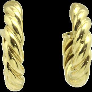 """LUXURIOUS 18KYG Italian Made """"Twisted Rope"""" Hoop Earrings"""