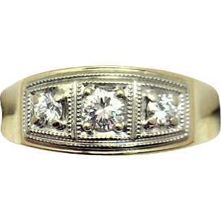 HANDSOME Gents 14k Mid-Century 2/3cttw Diamond Ring