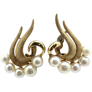 GLAMOUROUS 14KYG Vintage High Quality Pearl Earrings