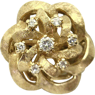 """LOVELY Classic 14KYG Vintage """"Rose"""" Ring Set With 1/5cttw Diamonds"""
