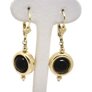 Fun! Earrings with 8mm Onyx Balls that Spin in their Frames!