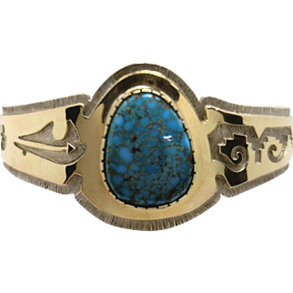 """RARE! Dina Huntinghorse Cuff Bracelet in SS & 14KYG with Lone Mountain """"Spiderweb"""" Turquoise"""