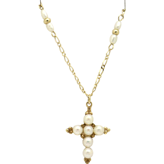 UNUSUAL 14KYG  High Quality Cultured Pearl Cross Pendant on pearl accented Chain