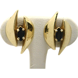 Fun & Funky! Mid Century 14KYG Sapphire Earrings