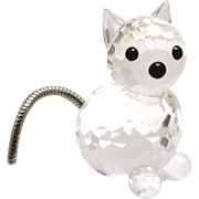 Adorable Retired Swarovski Cat with Metal Tail Retired, 1980's