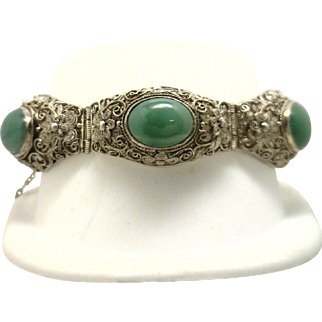 GORGEOUS! Vintage Handmade Sterling Silver Wire Nephrite Jade Bracelet from Japan