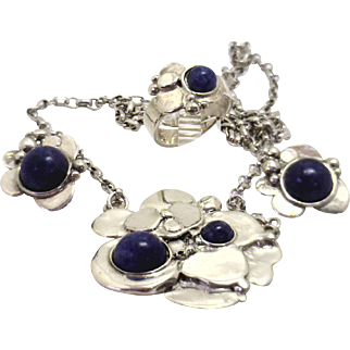 Vintage Sterling Silver Sodalite Suite of Necklace, Earrings & Ring from Norway