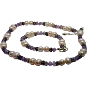STUNNING! HandCrafted Pink FW Pearl, Amethyst & Sterling Bali Bead Necklace/Bracelet Set