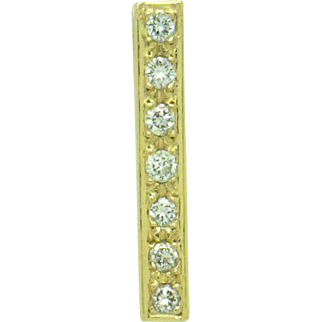 """CONTEMPORARY 14KYG Pendant Solid """"Bar"""" of Gold with Seven=1/5cttw Diamonds"""