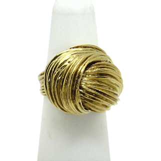 """Vintage 18KYG """"Beehive"""" Ring--GORGEOUS in Person!"""