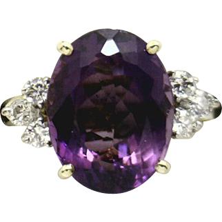 BRILLIANT 14KYG ~6ct Amethyst & Diamond Ring