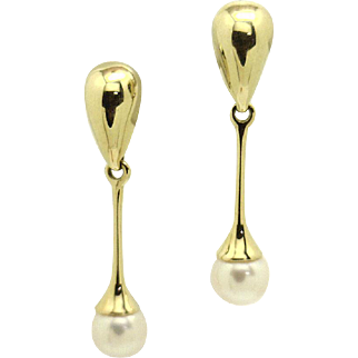 Mid Century Modern 14KYG Dangling 7mm AA Akoya Pearl Earrings SCRUMPTIOUS!