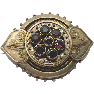 Victorian 15KYG Mourning Pin with Old European Cut Garnets & Memento Holder