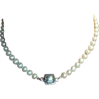 "Versatile Vintage  16 "" 6.5-6.0mm Pearl Necklace with Silver Spacers & Cool Clasp"