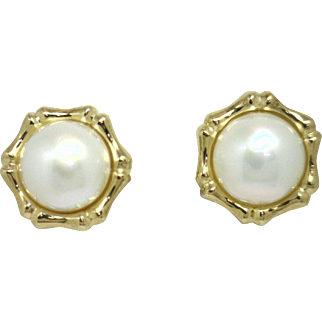 """SPECTACULAR! Large 15mm Mabe Pearl earrings with 14KYG """"Bamboo Like"""" Frames"""