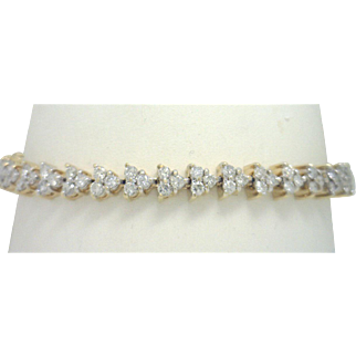 "SPECTACULAR 14KYG Heavy 5+CtTW Diamond ""Triangles"" Bracelet Far below Wholesale"