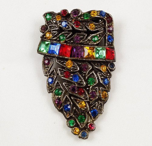 Lovely multicolored rhinestone dress clip