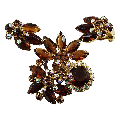 D & E/Juliana brooch & ear clip set floral fall colors in gold tone