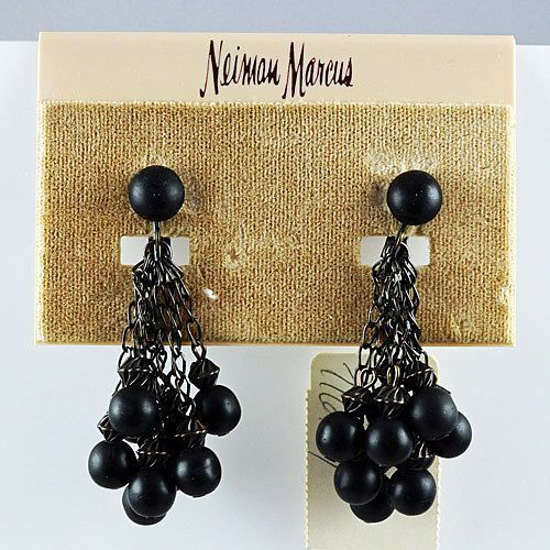 "Vintage ""Neiman Marcus clip on earrings black metallic beads dark dangling chains"