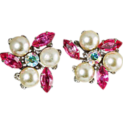 Judy Lee ear clips pink rhinestones & large imitation pearls