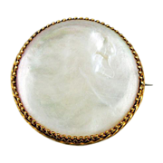 Larger Mother of Pearl with gold tone pronged frame C-Clasp