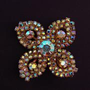 Vintage AB rhinestone floral brooch