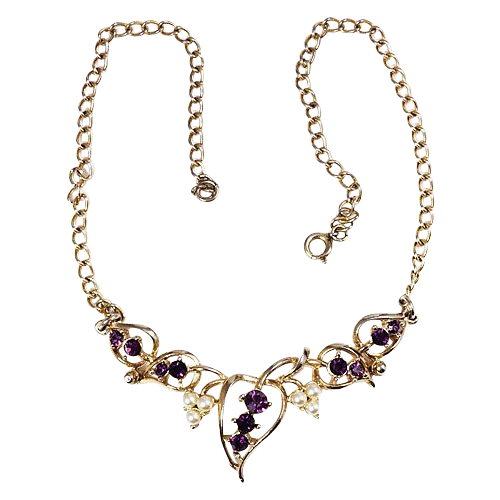 Choker necklace Amethyst rhinestones plated gold tone