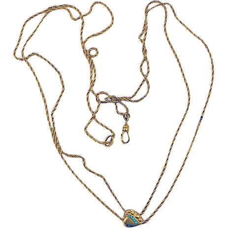 Watch chain double strand signed FLS & CO puffy heart slider
