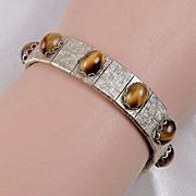 Brushed gold tone Tiger Eye link bracelet