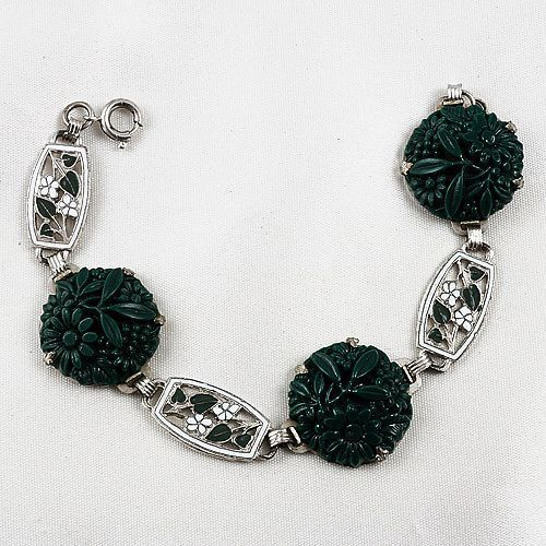 Floral link bracelet dark green glass links enamel spacers