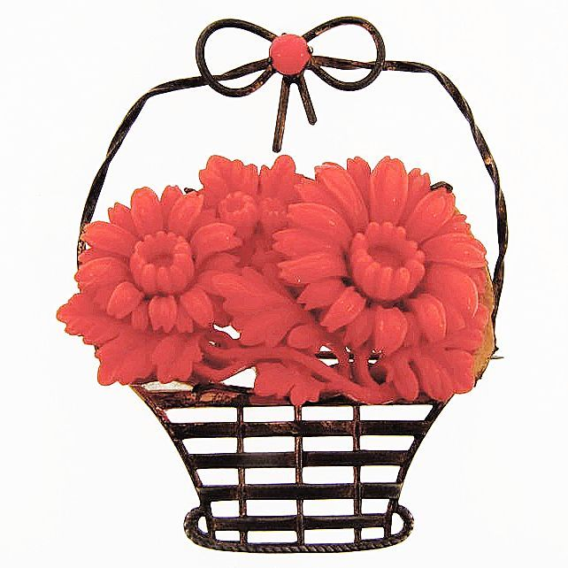 Large flower basket brooch with molded celluloid flowers