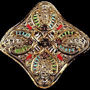 Western Germany open lacy brooch enameling & Lavender rhinestones