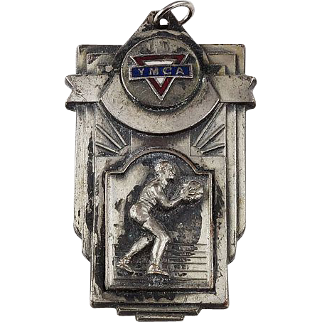 YMCA intramural pendant medal dated 1942 Pewter