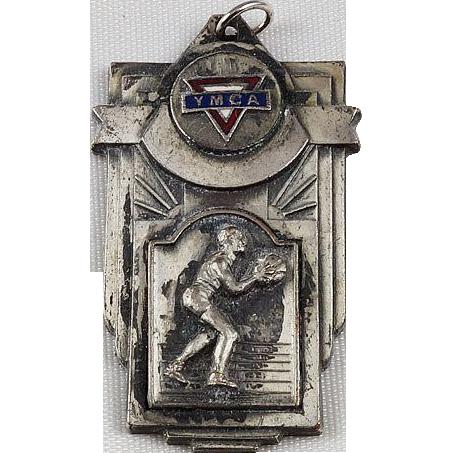 YMCA intramural pendant medal dated 1942 Pewter